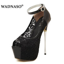 WADNASO Womens Pumps Shoes Sexy Thik Heel Ultra High Heels16.5CM Lace Women Wedding Platform Hollow 35-40 black