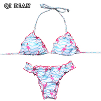 QI DIAN Sexy Brazilian Bikini 2017 Women Swimsuit Bandage Flamingo Printing Push Up Swimwear Bikini Set