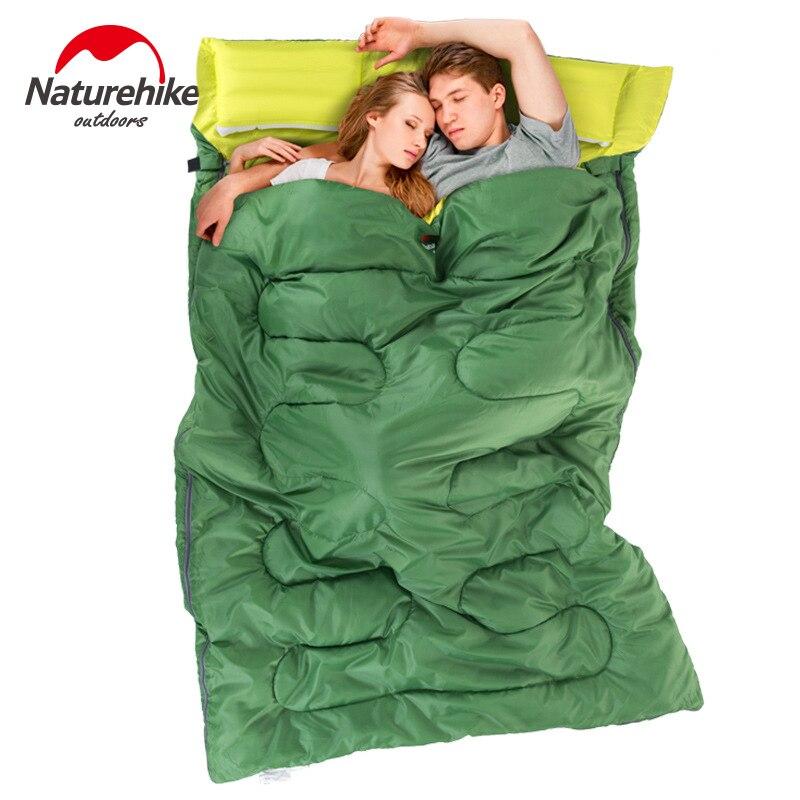Naturehike 2,15 m * 1,45 m al aire libre doble saco de dormir sobre primavera y otoño Camping senderismo bolsa de dormir portátil con almohada