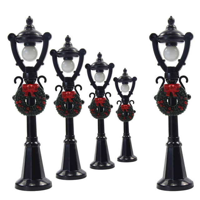 lyc02 5pcs model railway christmas lamp post street lights o scale 3v new decoration