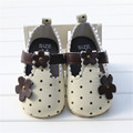 Soft Bottom Fashion Dots Flower Baby Moccasin Newborn Babies Shoes PU Leather Prewalkers Boots Non-slip Shoes for Baby Girls