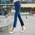 New Summer Slim Femme High Waist Jeans Women Wash Skinny Jeans Bell-bottom Trousers Rough Selvedge S-XL