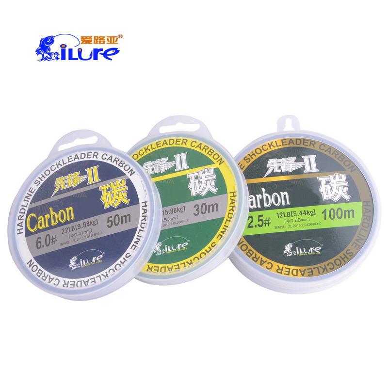 iure 30m 50m 100m 0.8#-14# 100% Carbon Fishing Line  Fluorocarbon  Transparent Monofilament Floating Nylon Fish Lines Tackle