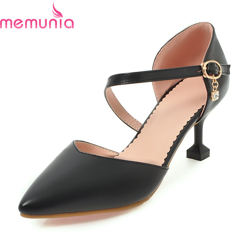 MEMUNIA plus size 34-43 2018 autumn elegant women pumps stiletto high heels pointed toe buckle pu leather party shoes memunia flock pointed toe ladies summer high heels shoes fashion buckle color mixing women pumps elegant lady prom shoes