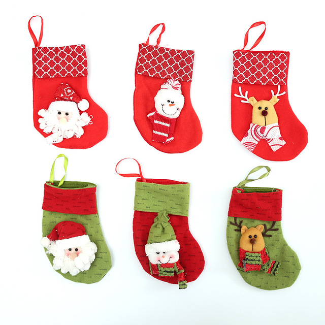 2 pcs random ship christmas socks decor party decorations santa claus christmas stocking candy christmas gifts