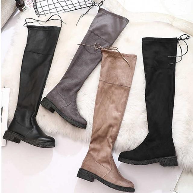 2018 แฟชั่นผู้หญิงฤดูหนาวกว่าเข่ารองเท้าส้นสูงคุณภาพหนังนิ่มยาวสบายสแควร์ตุ๊กตาสั้น Botas Mujer ต้นขาสูง