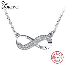 Forewe 925 Sterling Silver Long Chain Necklace Vintage Crystal Infinity Pendant Necklace for Women Top Quality Fashion Jewelry(China)