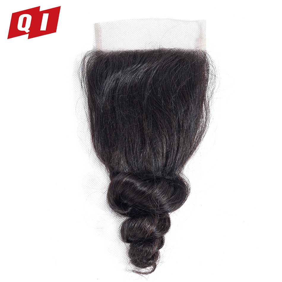 QI Hair Closure 100% Loose Wave 4x4 Size Non Remy Human Hair Pre Plucked Malaysian Hair Natural Color Hairline With Baby Hair