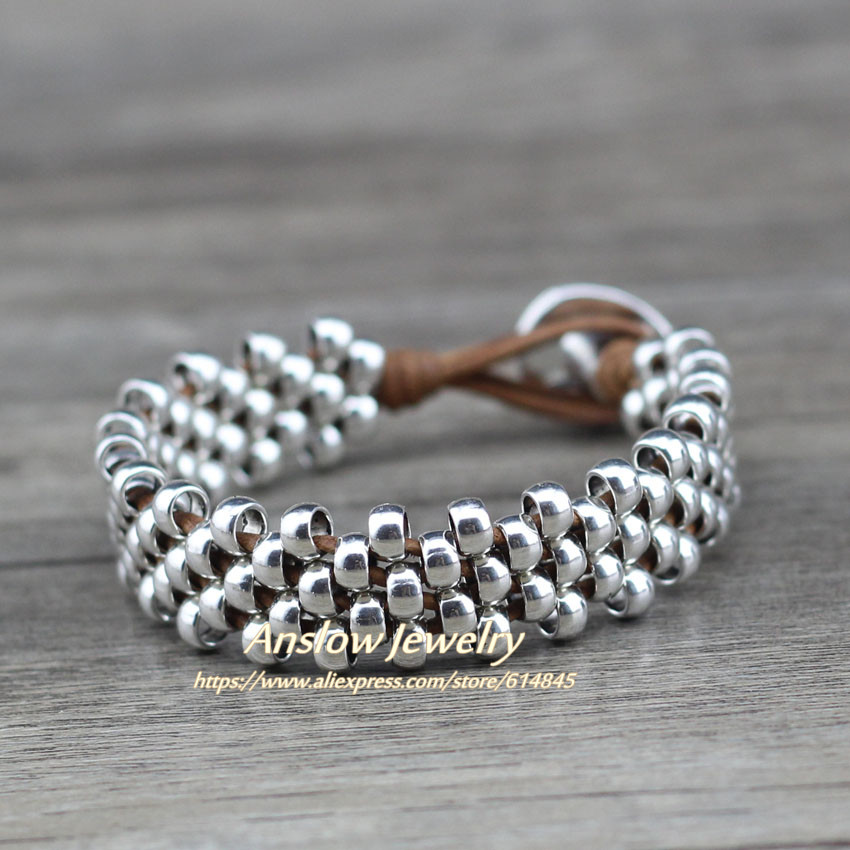 Anslow New Design Creative Brand Top Quality Fashion Jewelry Strand Silver Beads Leather Bracelet Bangles Best Friend LOW0645LB in Strand Bracelets from Jewelry Accessories
