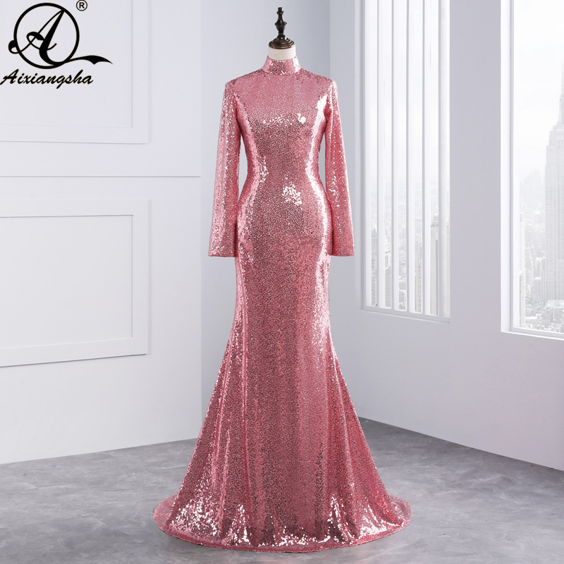 2018 New Sexy Backless Long Sleeves Rose Gold Sequined
