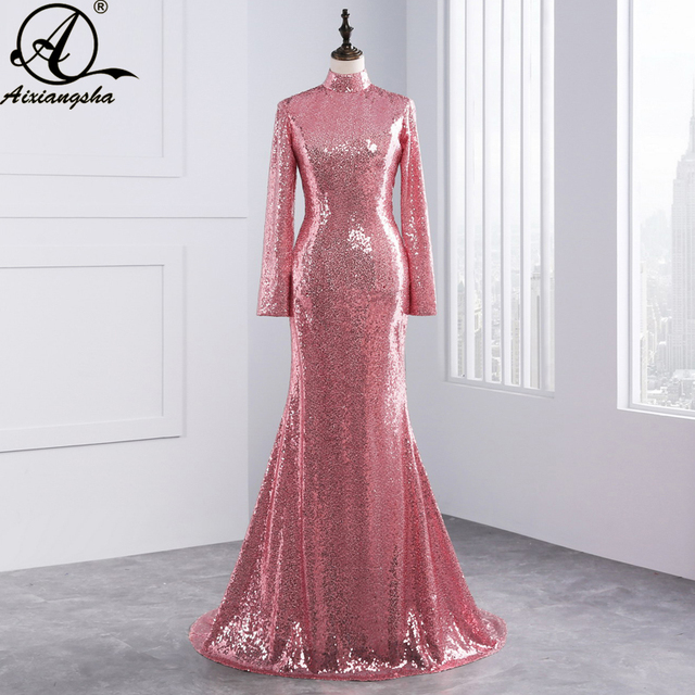 1a90ed4b14f 2018 New Sexy Backless Long Sleeves Rose Gold Sequined High Neck Evening  Gowns 2018 Amazing Top