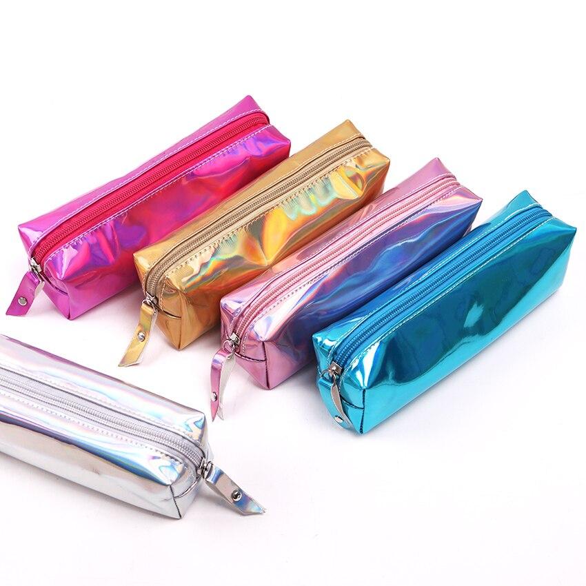 Irisée Laser Étui À Crayons Qualité PU Fournitures Scolaires Bts Papeterie Cadeau Crayons École Mignon Boîte À Crayons Bts Outils Scolaires