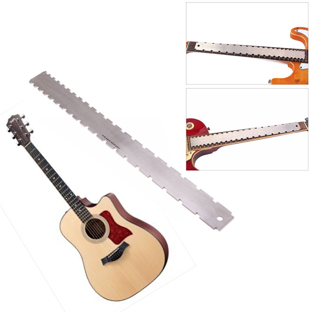 1Pcs Guitar Fingerboard Ruler Silver Stainless Steel Guitar Neck Notched Straight Edge Luthiers Tool Guitarra Accessories stainless steel cuticle removal shovel tool silver