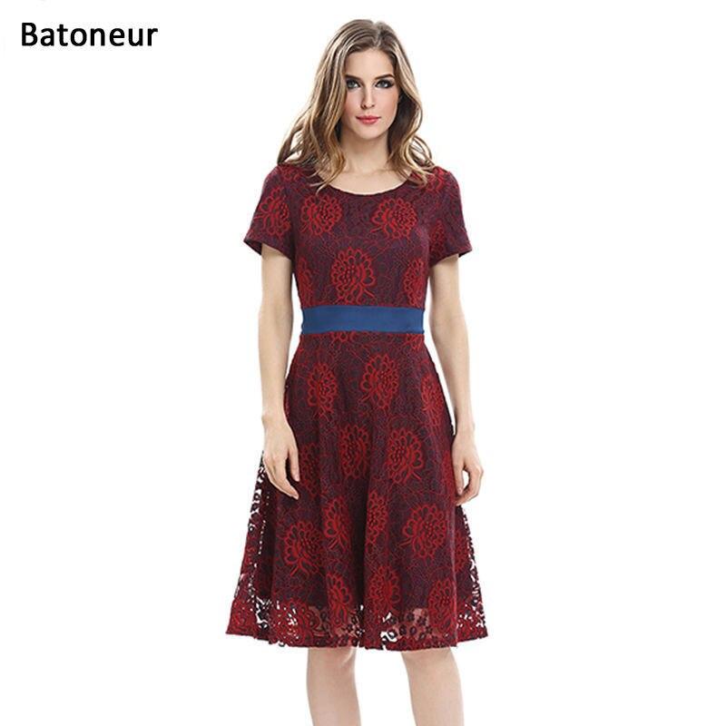 Elegant Vintage 2017 Summer Lace Dresses O-neck Short Sleeve Fit Flare Belt Patchwork Office Wear To Work Casual A Line Dresses short dresses office wear