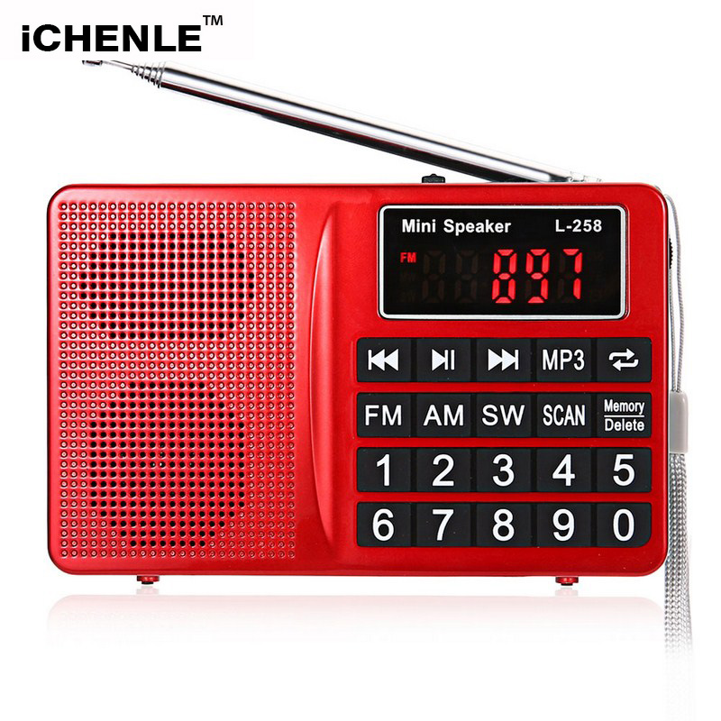 FM/AM/SW Radio Stereo Speaker MP3 Music Player Super bass TF Card USB Aux PC Mobile Phone Multifunctional LCD Screen Portable