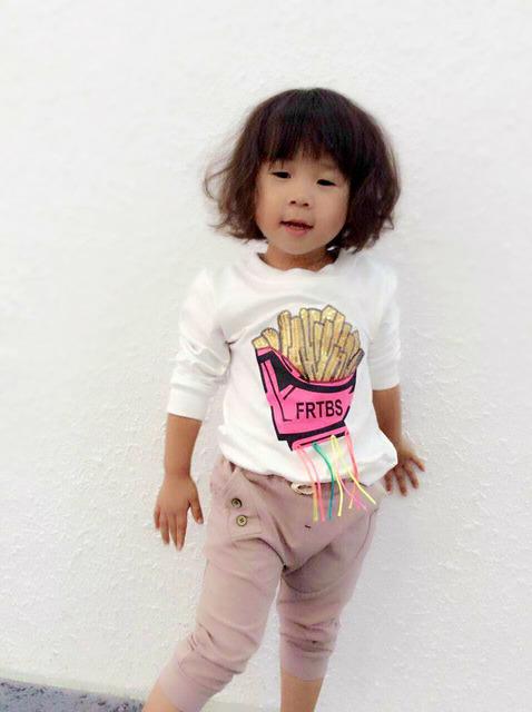 Bebé Girls Hoodies Del Otoño Del Resorte Del O-cuello de Lentejuelas Carta Imprimir O-cuello de las Camisetas de Los Niños Ropa de Niños de La Manera Ropa 5 unids/lote