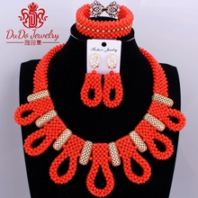 Sexy Orange and Gold Costume Coral African Jewelry Sets For Women Bridal Nigerian Indian Big Design Skirt Necklace Set of Beads