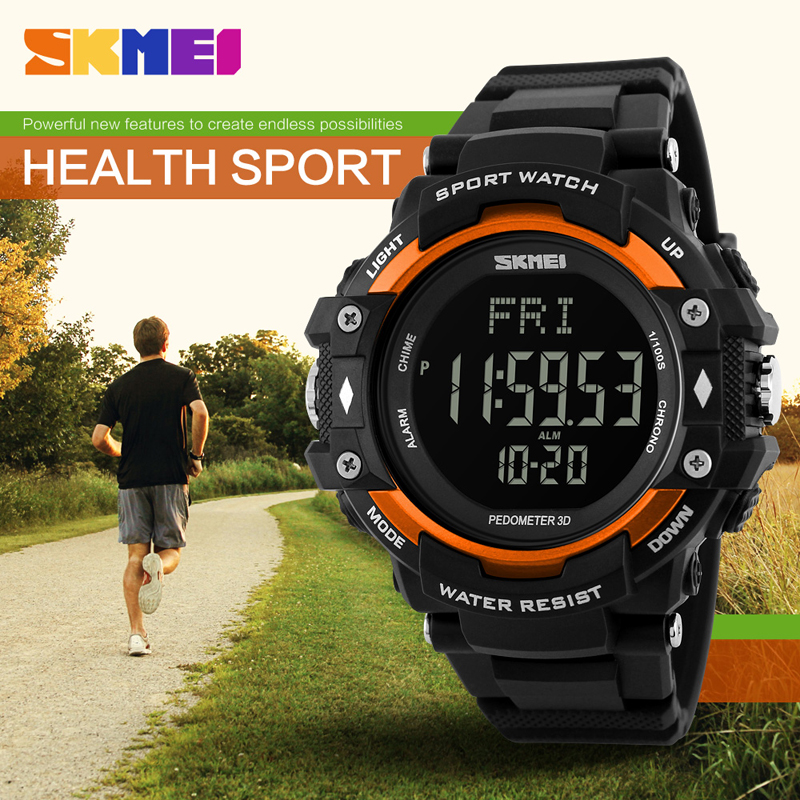 SKMEI Men Sports Watches 3D Pedometer Heart Rate Monitor Cal