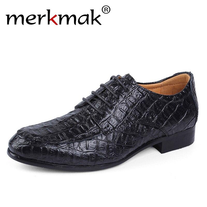 Merkmak Brand Genuine Leather Oxford Shoes For Men Business Men Crocodile Shoes Mens Dress Shoes Plus Size Wedding Shoes ManMerkmak Brand Genuine Leather Oxford Shoes For Men Business Men Crocodile Shoes Mens Dress Shoes Plus Size Wedding Shoes Man