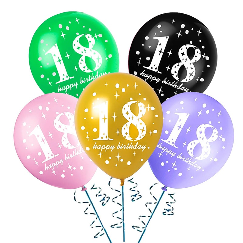 10pcs Happy <font><b>18th</b></font> <font><b>Birthday</b></font> Latex Balloons 18 Years Old Gold Globos For Party Supplies <font><b>Birthday</b></font> Party Decorations Adult 6D image