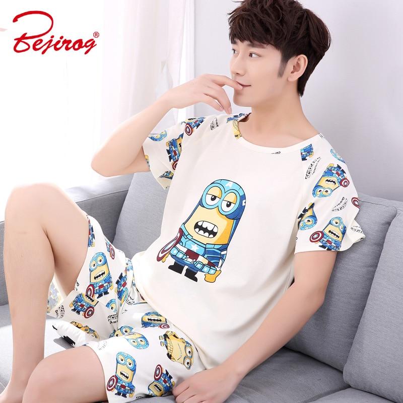 Bejirog Men Pajamas Set Cotton Sleepwear Bear Prints Nightwear Short  Sleeved Sleep Clothing Casual Nighties Summer Male Lounge 692ece41f