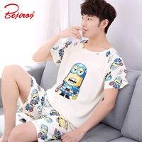 Bejirog homens pijama jogo dos desenhos animados pijamas pijamas de algodão de manga curta masculina roupas plus size nighties sono homewear verão
