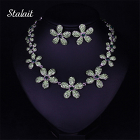 Womens Short Collar Necklaces Jewelry Color Crystal Five Leaves Flowers Rhinestone Statement Gothic Necklace Earring Jewelry