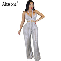Abasona Bronzing Women Jumpsuits Wide Leg Pant Two Piece Set Evening Party Club Rompers Womens Jumpsuit Sexy Zipper Overalls