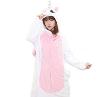 Pink Unicorn Unisex Flannel Hooded Pajamas Adults Cosplay Cartoon Animal Onesies Sleepwear Hoodies For Women Girls