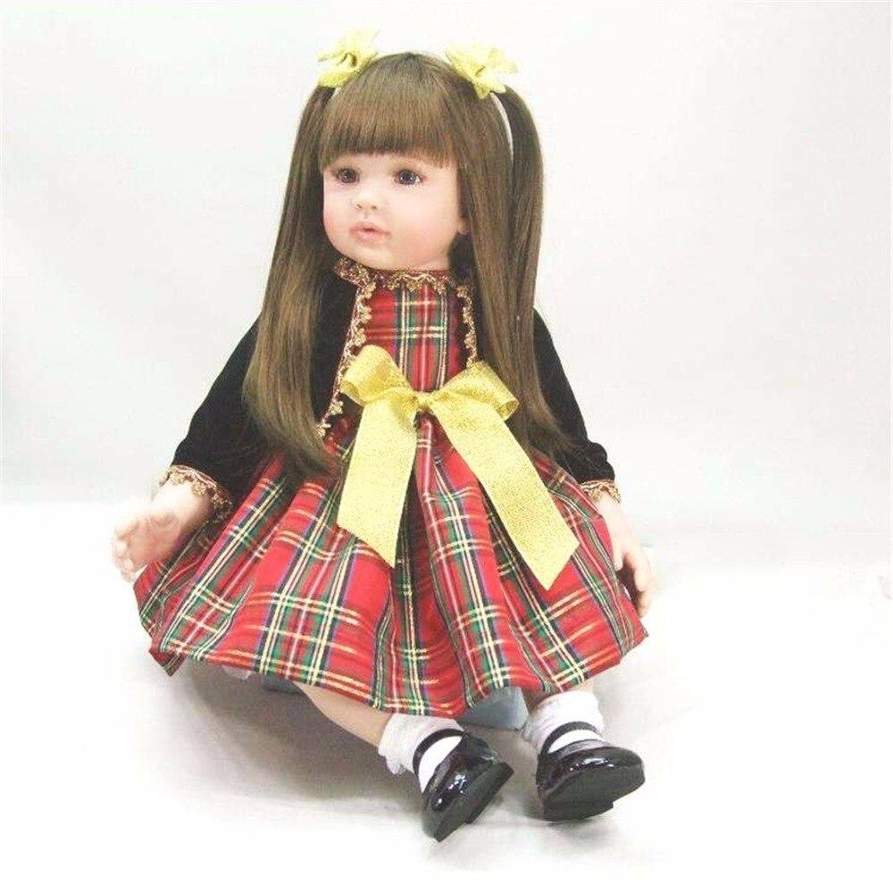 22 inch 55 cm Silicone baby reborn dolls, lifelike doll reborn babies toys Black small coat dress doll