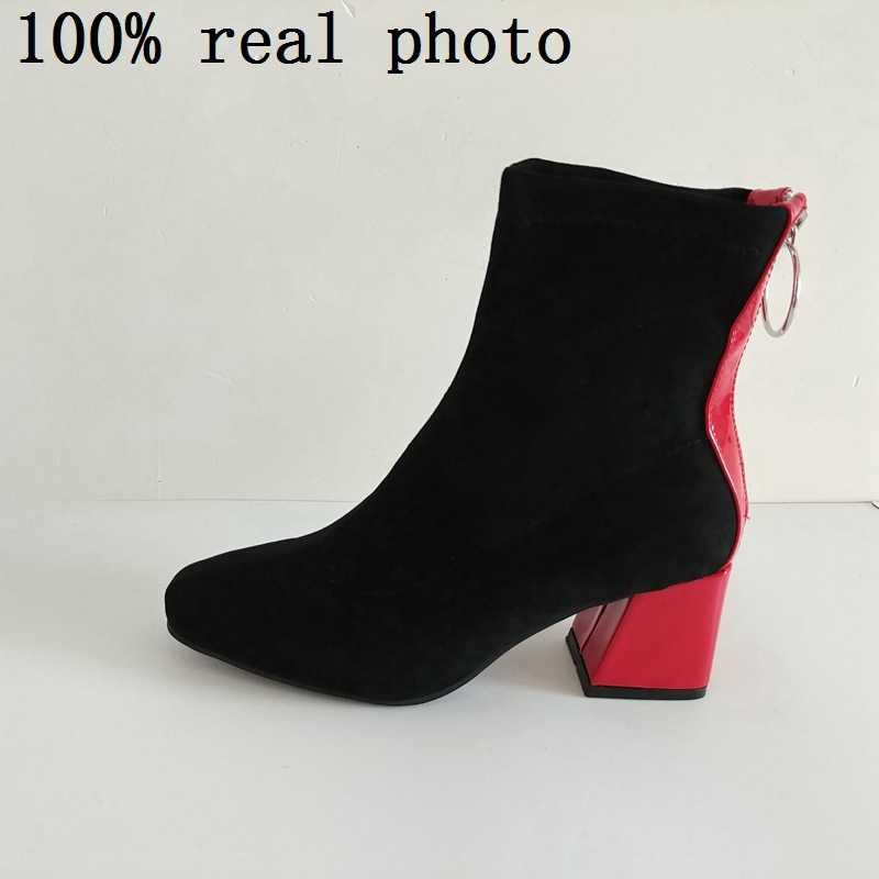 REAVE KEDI Kış yarım çizmeler Ayakkabı kadın Sivri Burun Faux süet Kalın topuk Fermuar Botas feminino mujer Siyah yüksek topuk A1354