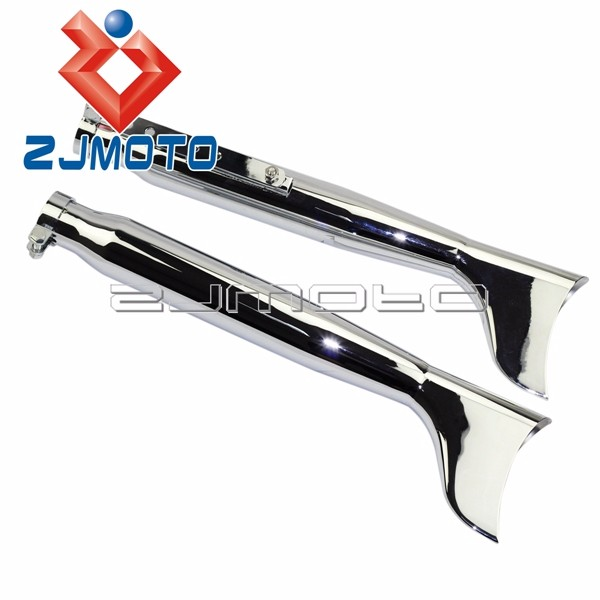 Details about  /Pair 550mm Pipes Slip-On Fishtail Muffler Exhaust Silencer For Harley Sportster