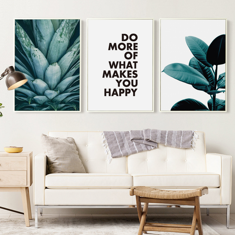 Us 2 69 45 Off Modern Abstract Plant Pineapple Leaves And Phrase Canvas Painting Art Print Poster Picture Wall Painting Home Decor In Painting