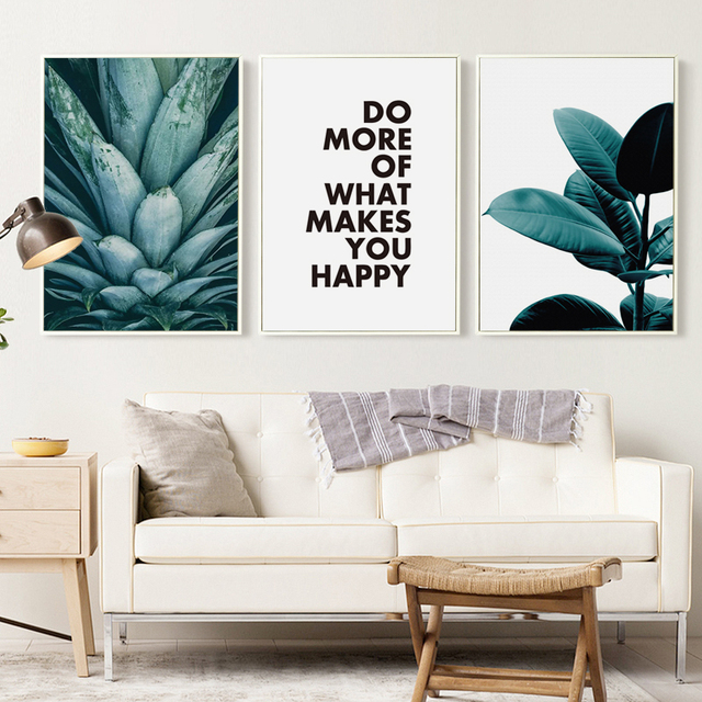 Modern Abstract Plant Pineapple Leaves and Phrase Canvas Painting ...