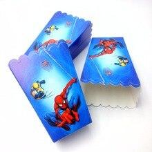 6pcs/lot Spiderman Party Supplies Popcorn Boxes Cartoon Happy Birthday Decoration Theme Party Supply spiderman party supplies