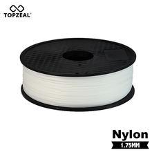 Material de impressão preto branco do filamento do pa da cor de transparen do filamento 1.75mm 1kg do pa de topzeal para plásticos da impressora 3d