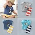 Розничная мода детская одежда хлопка мальчиков blothing наборы самолетов футболки + случайные полосатые брюки брючные костюмы детская одежда