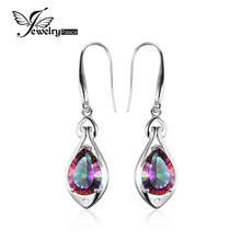 Jewelrypalace Water Drop 6.8ct Rainbow Fire Mystic Topaz Dangle Earrings Pure 925 Sterling Silver New Fine Jewelry For Women