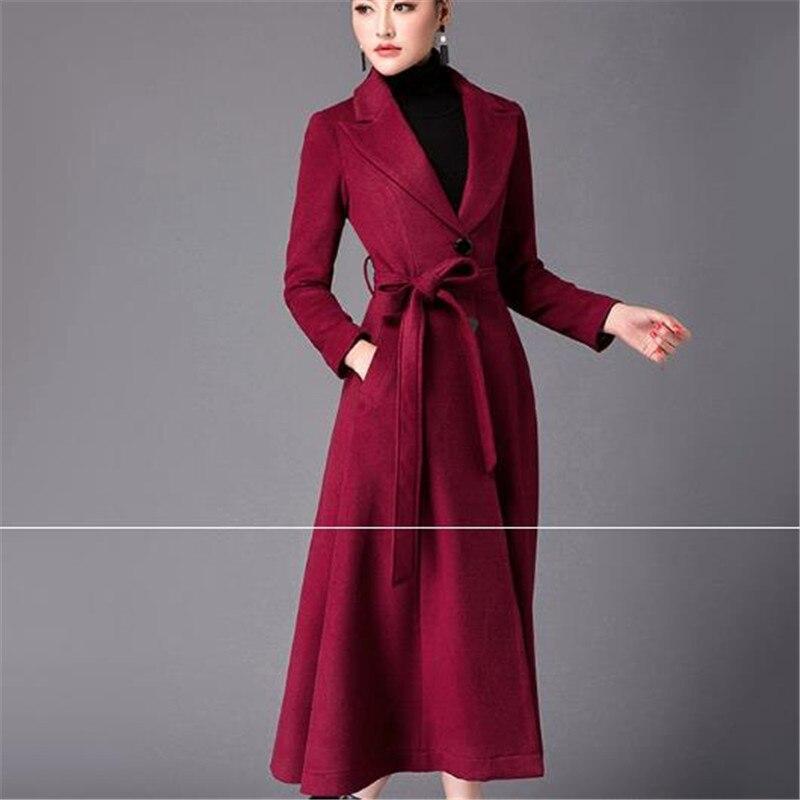 Nouveaux La Manteau Haute Femme De Femmes Plus Black jujube Laine 2018 Cachemire Veste Qualité Mode red Long Mince Épaississement Taille blue Survêtement Parka Red Hiver w4YtYFq6