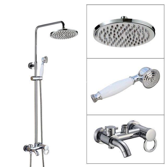 Wall Mounted Bathroom Rain Shower Faucet Set Polished Chrome Brass ...