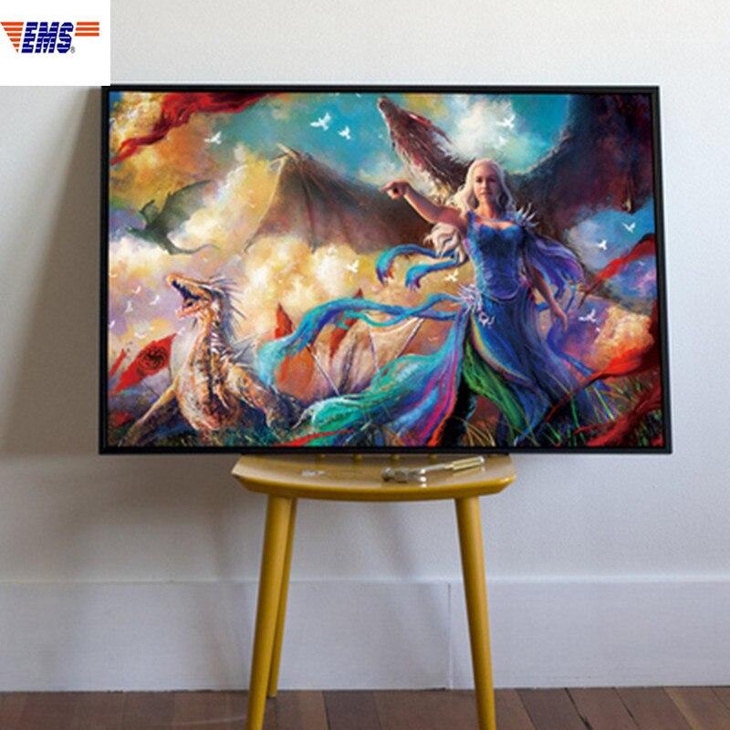 Mère de Dragons Daenerys Targaryen cadre en bois massif peinture mode télévision fond mur Art tentures décorations X1236