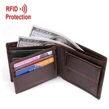 Мужские кошельки из натуральной кожи с защитой от радиочастотной идентификации, фирменный дизайн, кошельки с карманом для монет, кошельки, подарок для мужчин, держатель для карт, двойной кошелек