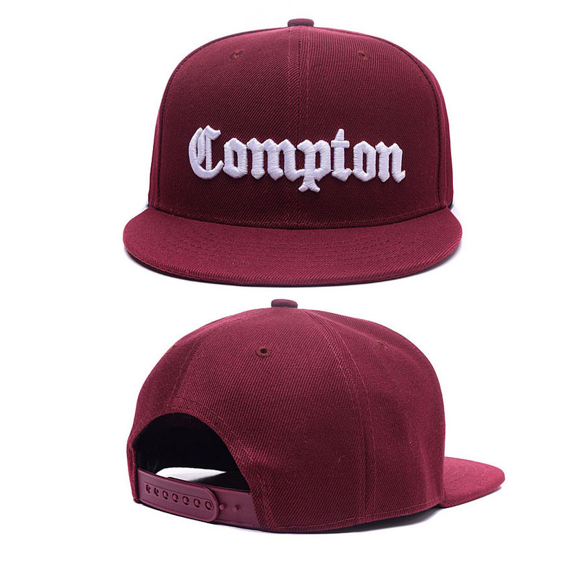 COMPTON Lette Baseball Cap Black Adult 3D Embroidery Hats Adjust Casual Unisex Snapbacks  Peaked Sun Cap Hip Hop Hats Flat Brim new 2017 fashion unisex cap bones baseball cap snapbacks hat simple hip hop cap casual sports female hats wholesale