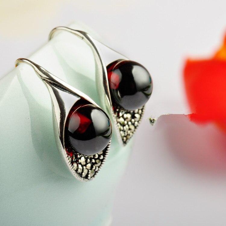 Сережки з чорного срібла оптом 925 срібних сережок із гранатового кулі