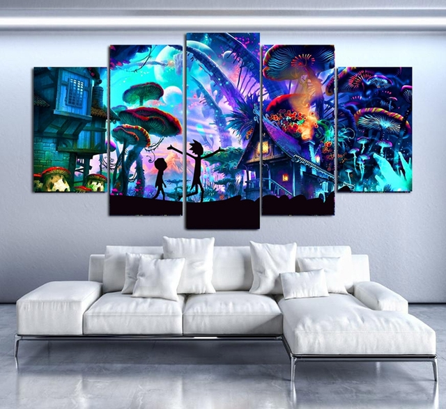 Canvas Wall Art Modular Pictures Home Decor 5 Pieces Rick And Morty Paintings Living Room HD Printed Animation Posters Framework 2
