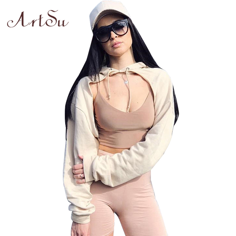 ArtSu Sexy Streetwear Loose Women Hoodies Lace Up Sweatshirts Sommarhöst Långärmad Pullover Kort Hooded Crop Top ASHO30000