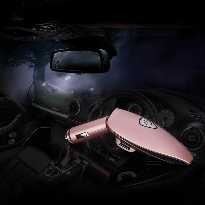 Good Guality Car Auto Pink USB Charging Fresh Air Oxygen Bar Ionizer Air Freshner+Dual Port Protecting family health p# dropship