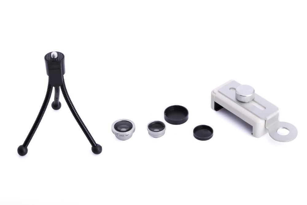 Zoom Optical Lens 4 in 1 Mobile Phone Telescope 9X Telephoto fish eye wide angle macro camera lens for iphone7 6 5 huawei lenovo 17
