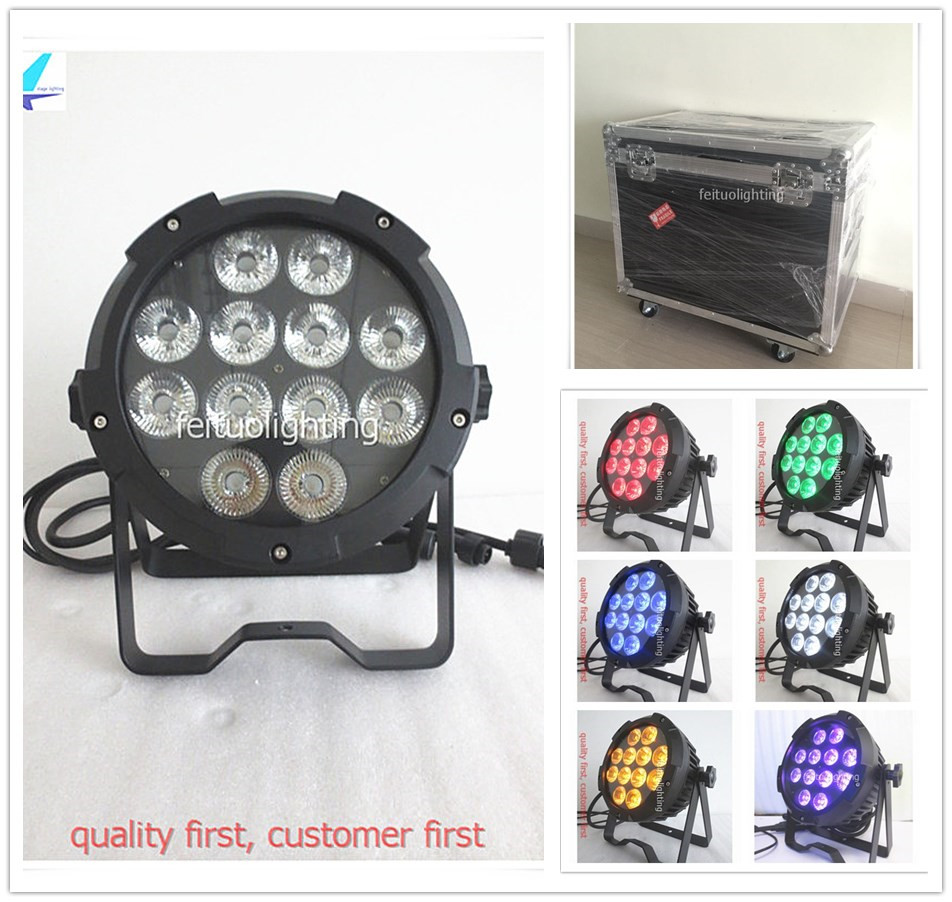 4pcs/lot flycase Outdoor Led Bright 12x18w Par Can Uplight RGBWA UV 6in1 Sound Strobe IP65 DMX Stage DJ Show Waterproof Lighting