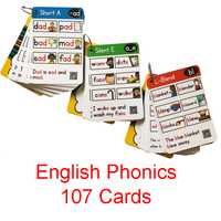 107 Roots English Phonics Flash Cards Kids Montessori Learning Educational Toys For Children Teaching Aids Baby Card